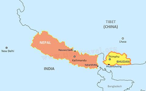 Map of Tibet and Bhutan