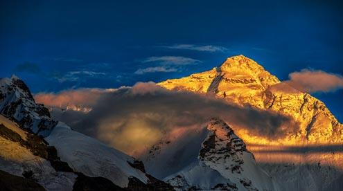 Golden Everest Peak at Sunset