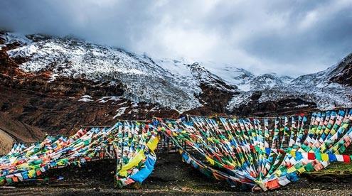 Korola Glacier and Praying Flags on the Roadside