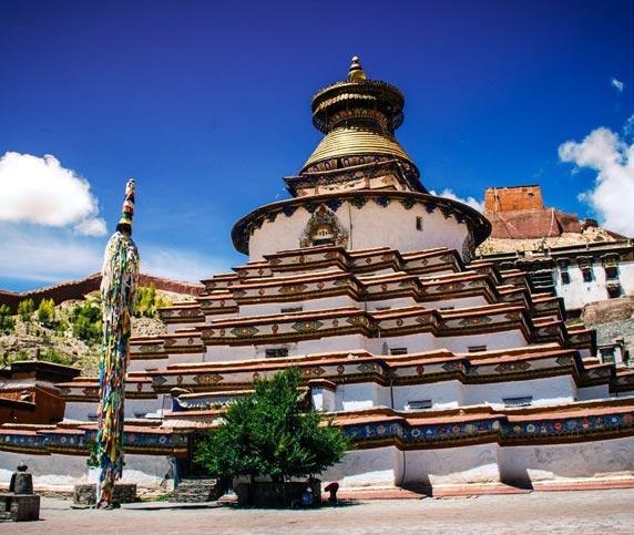 The white Stupa of Kubum Monastery