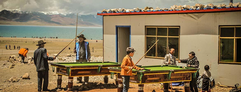 The local people of Namtso Lake is having fun
