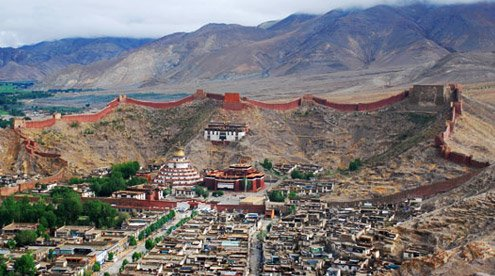 Panorama View of Palkor Monastery with Gyantse Town