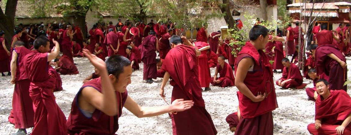 Dramatic Monks Debating in the Courtyard of Sera Monastery