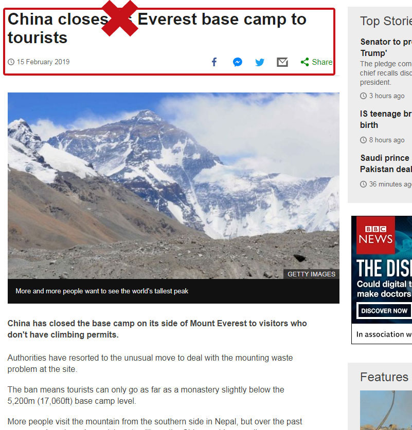 Rumors about Everest Base Camp Closed News from BBC
