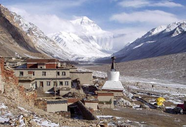 Mount Everest as seen from the Rongbuk Monastery - the highest monastery in the world