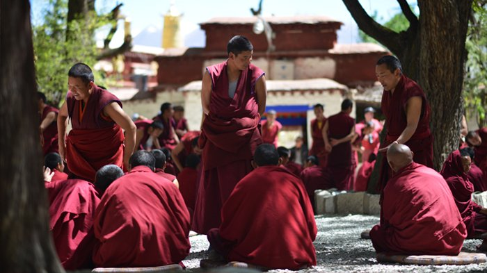 Dramatic monk debate in Sera Monastery