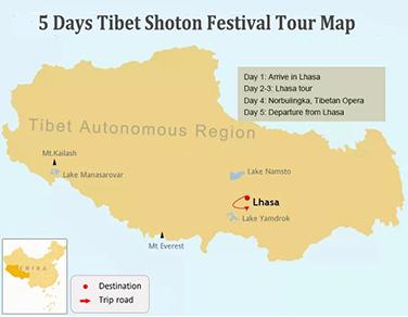 5 Days Shoton Festival Experience Tour Map