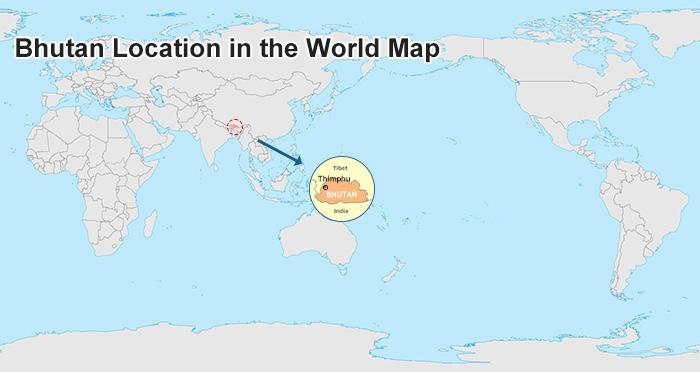 bhutan on world map Bhutan Travel Map bhutan on world map