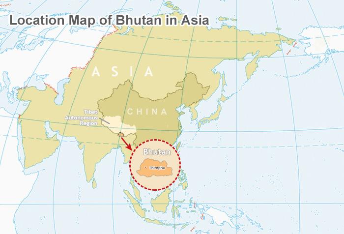 bhutan on world map Where Is Bhutan Located On A Map bhutan on world map
