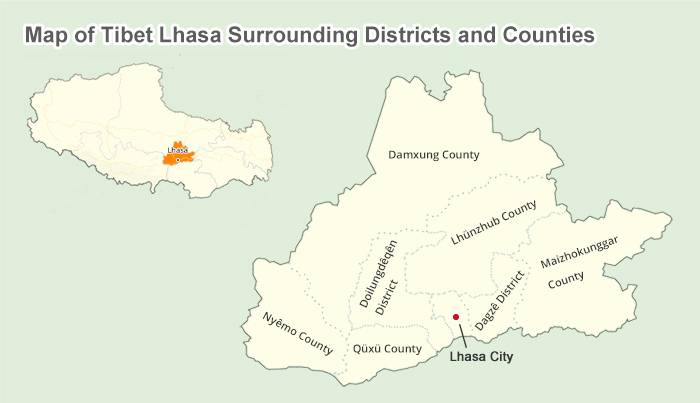 Lhasa Maps and Prefecture: Lhasa Location, Lhasa Tibet Map ...