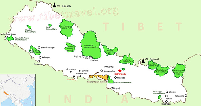Where is Nepal Located on Map, Nepal Map in Asia and World