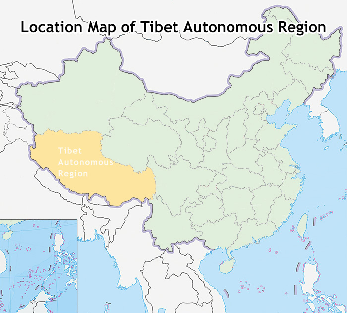 Where is Tibet Located on Map of China, Asia and World