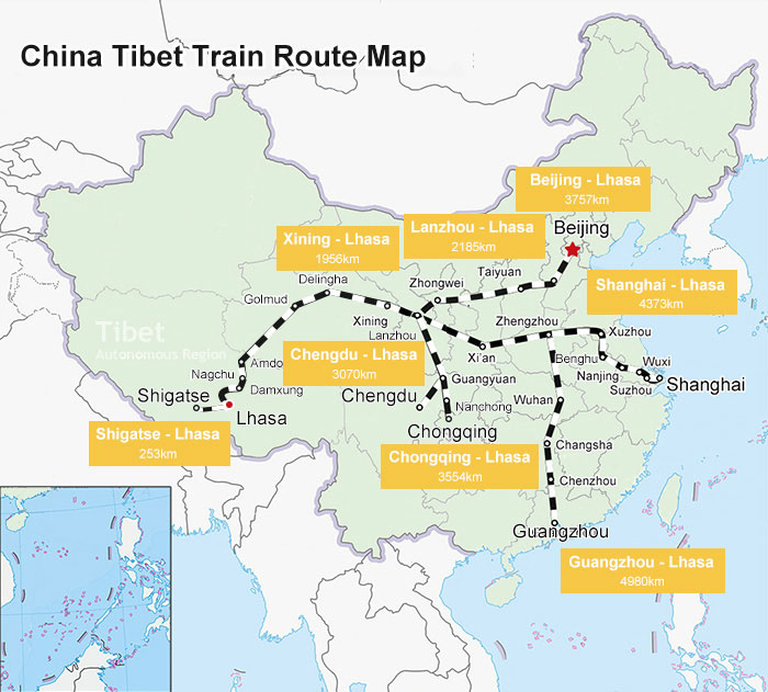 Map of Qinghai-Tibet Railway