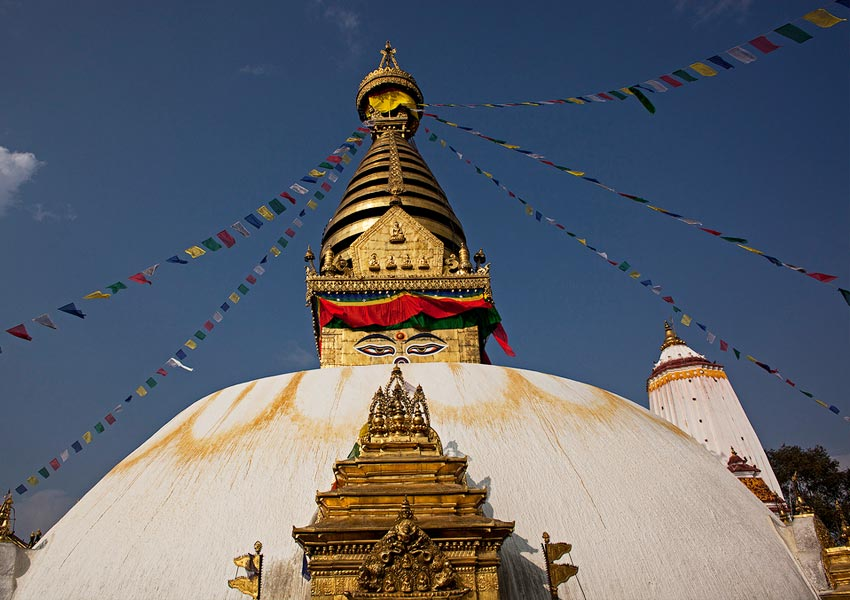 Swayambhunath stupa is an ancient religious architecture atop a hill in the Kathmandu valley.