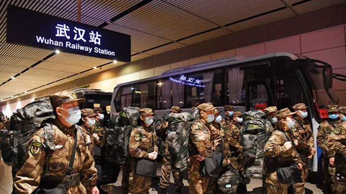 Chinese Army, Navy and Air Force rushed to Wuhan