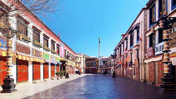 Barkhor Street in Lhasa Tibet
