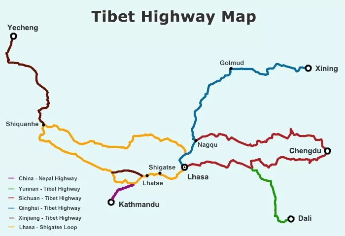 Major overland routes to Tibet