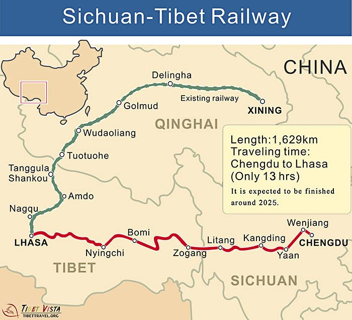 Map of Sichuan-Tibet Railway