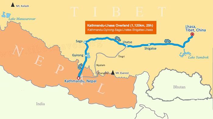 Kathmandu to Lhasa via Gyirong Port Map