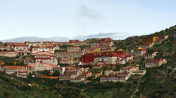 Bird's eyes view of Ganden Monastery