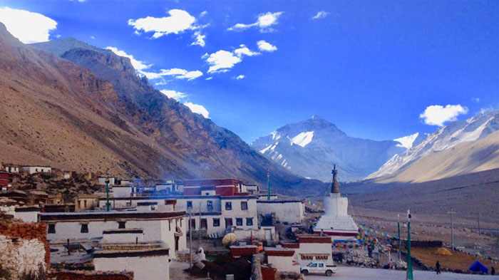 Viewing the imposing Mt.Everest from Rongbuk Monastery