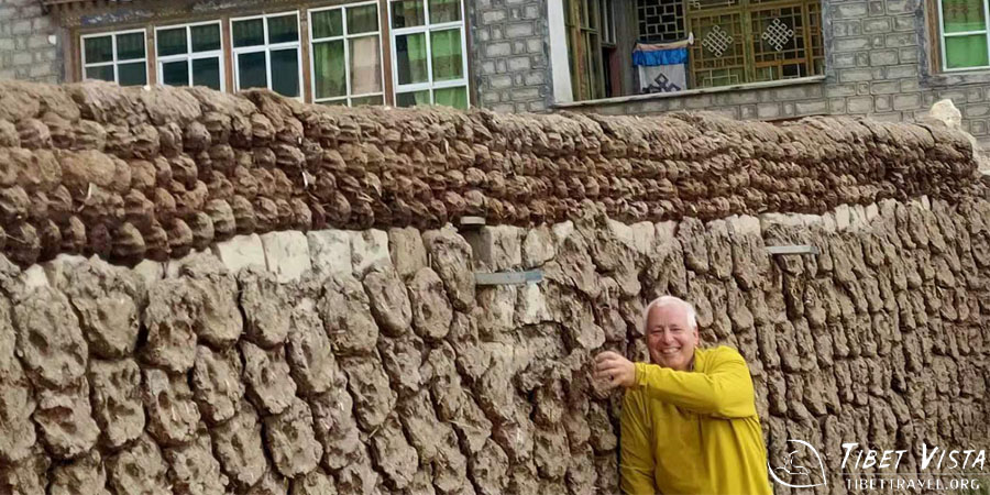Tibetan family's wall