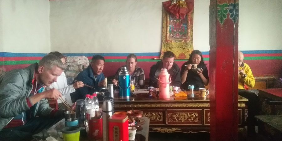 Eating at the monastery teahouse