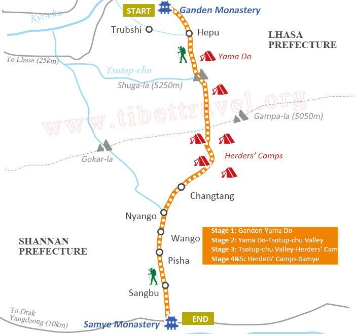 Ganden to Samye Trek Route