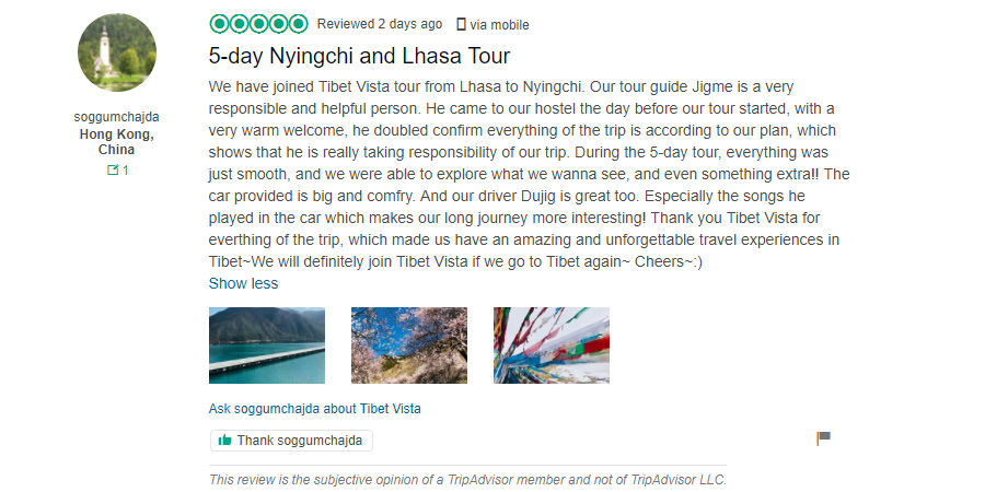 Nyingchi Tour Feedback