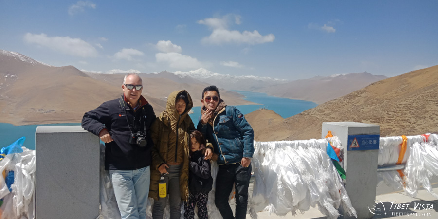 Family at the Yamdrok Lake view platform