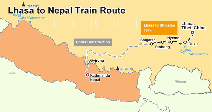 Lhasa Kathmandu Train Map